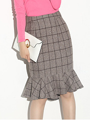 Plaid Mermaid Woolen Midi Skirt