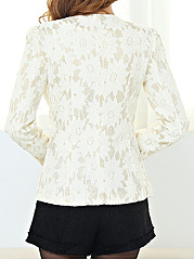 Round Neck  Floral  Long Sleeve Blazers