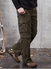 Flap-Pocket-Plain-Straight-Mens-Casual-Pants