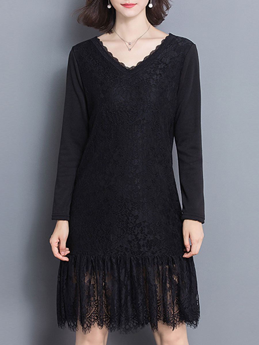 V-Neck Lace Ruffled Hem Plain Shift Dress