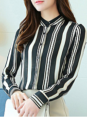 Band Collar  Patchwork  Stripes Blouses