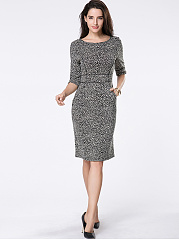 Office Printed Round Neck Bodycon Dress