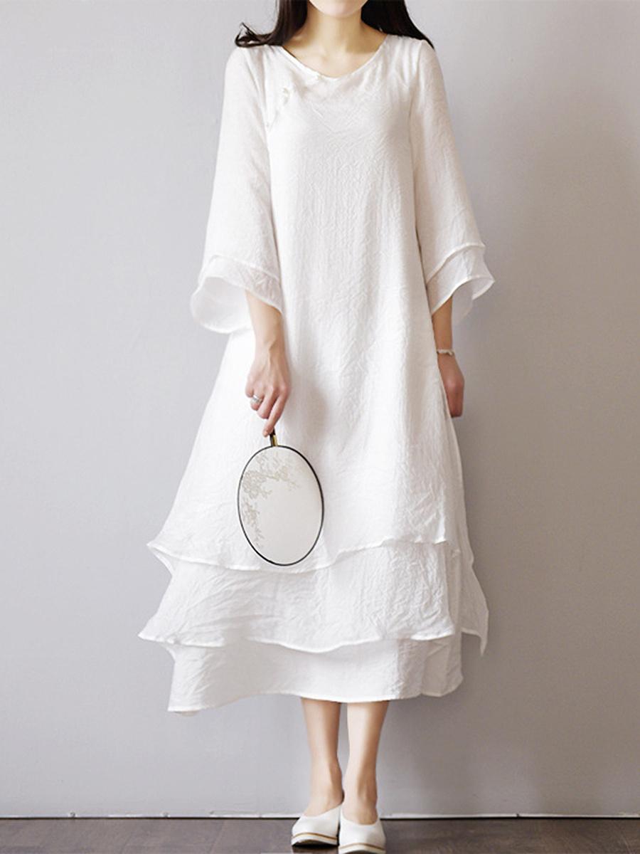 Cotton/Linen  Round Neck  Plain Maxi Dress