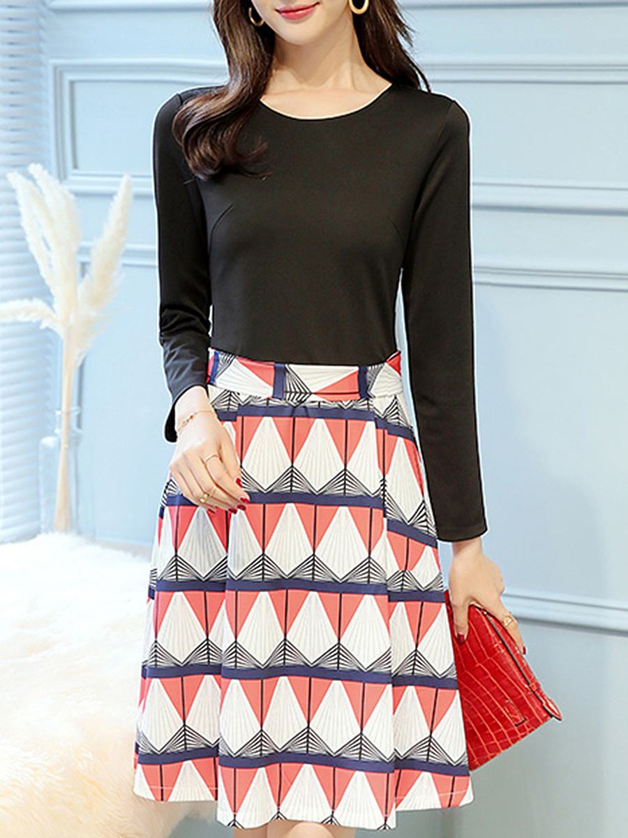 Round Neck  Patchwork  Belt  Geometric Printed Skater Dress