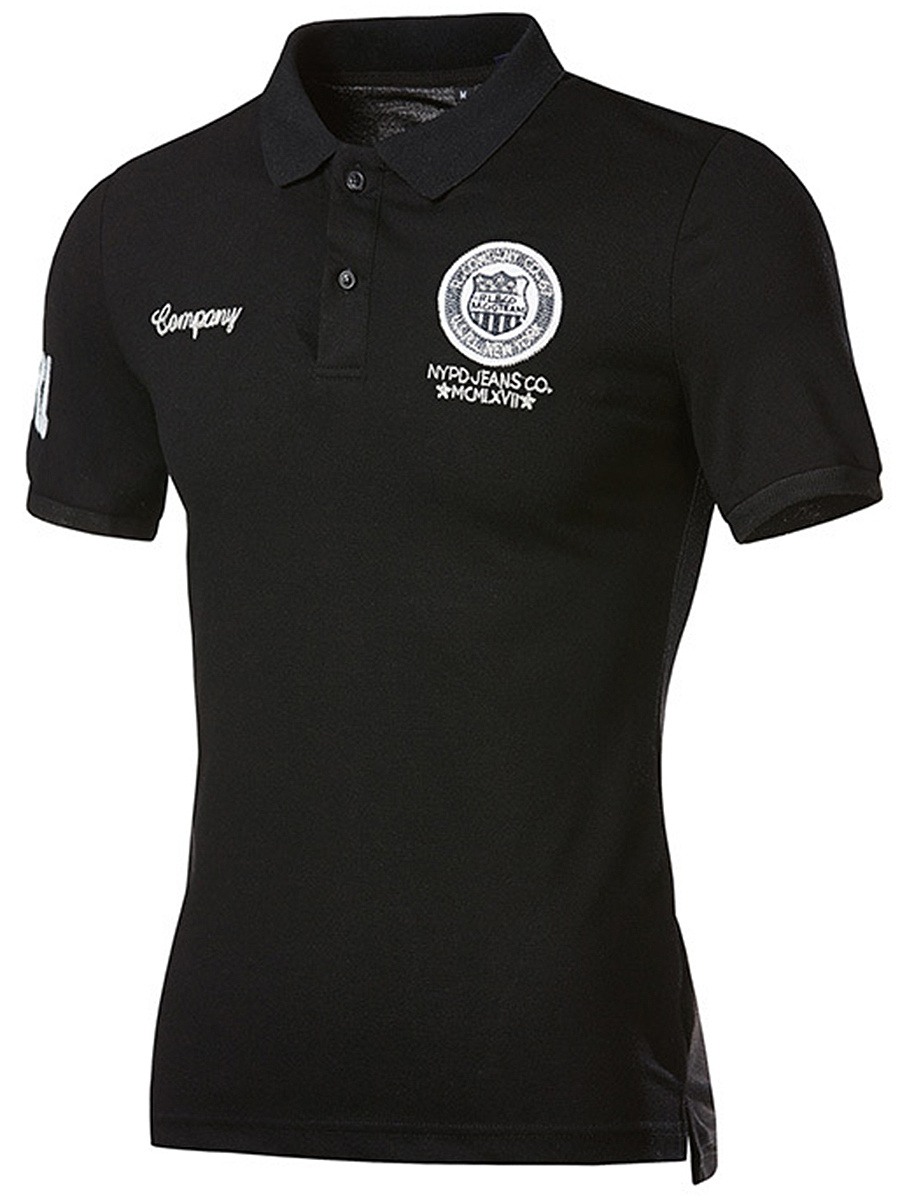 Men Badge Polo Collar Short Sleeve T-Shirt