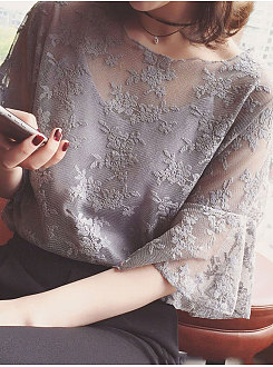 Summer  Cotton  Women  Round Neck  See-Through  Floral Plain  Bell Sleeve  Short Sleeve Blouses