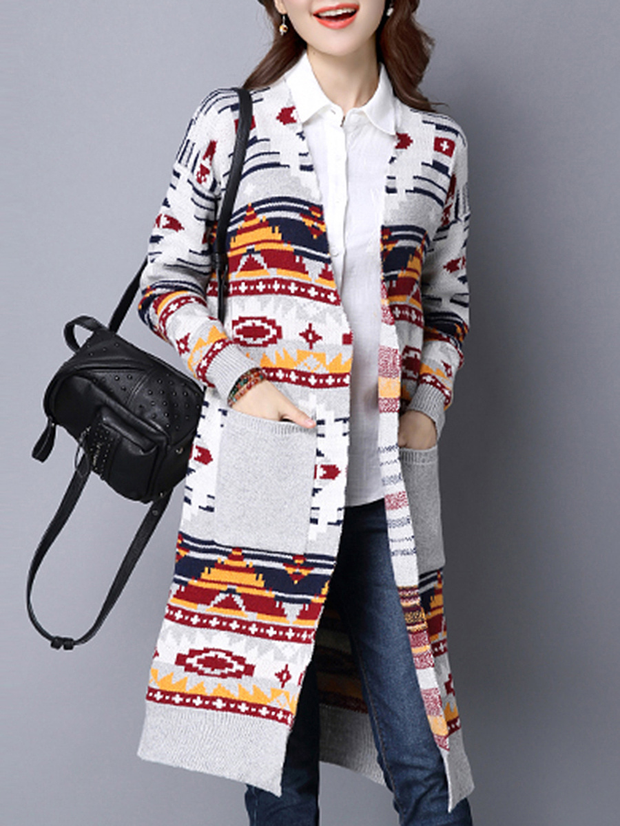 Patch Pocket Colorful Printed Longline Cardigan
