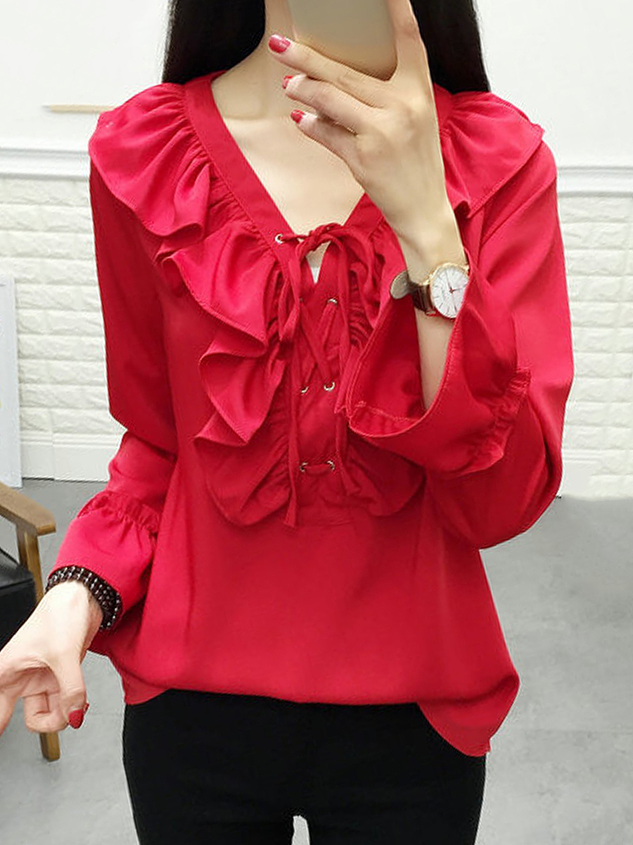 V-Neck Lace-Up Ruffle Trim Plain Blouse