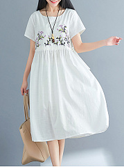 Round Neck Drawstring Embroidery Midi Skater Dress