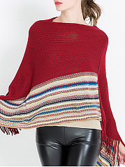 Poncho  Stripes  Knit Pullover