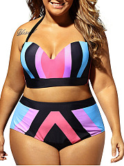 Patchwork  Color Block  High-Rise Plus Size Beachwear