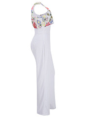 One Shoulder Embroidery Flounce Flared Jumpsuit