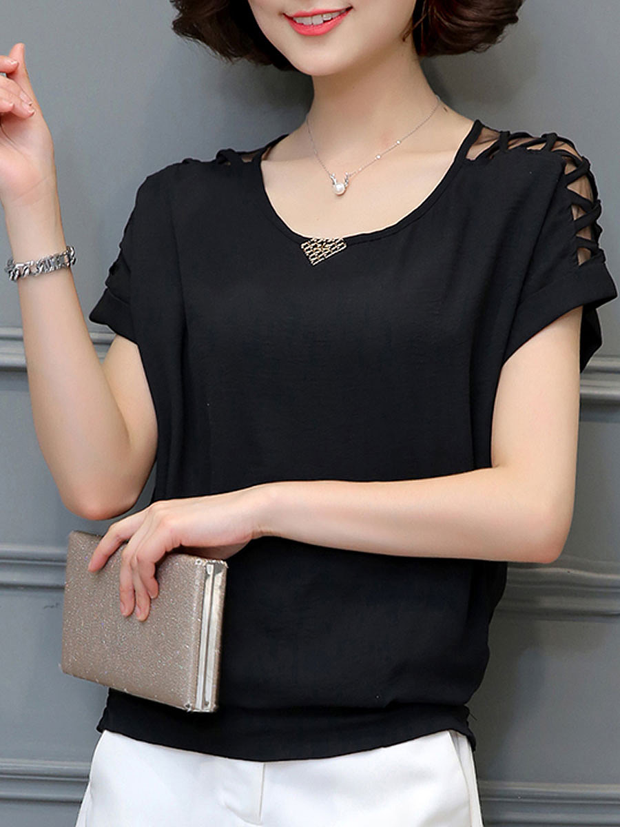 Round Neck  Decorative Hardware  Hollow Out Blouses