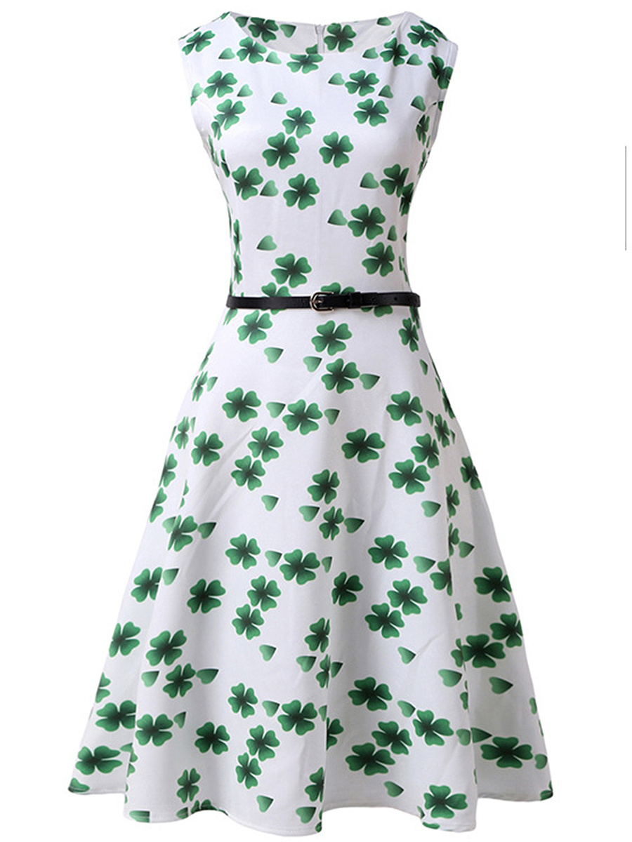 Four-Leaf Clover Printed Round Neck Belt Skater Dress