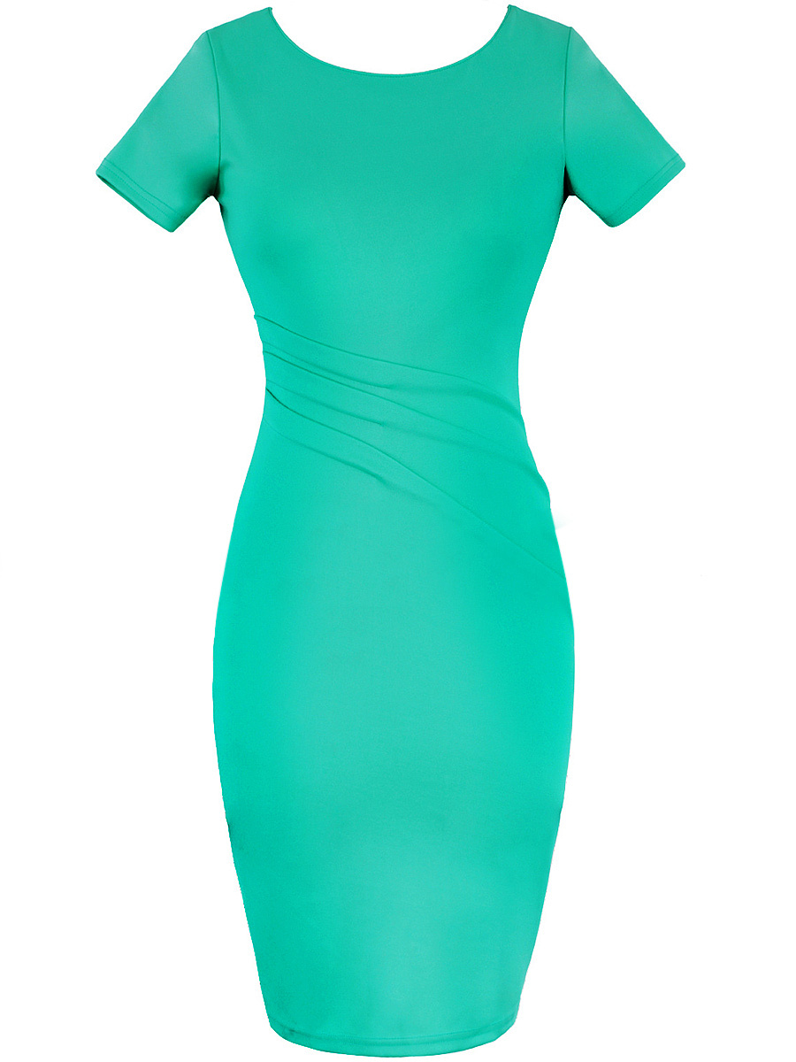 Solid Ruched Round Neck Slit Bodycon Dress