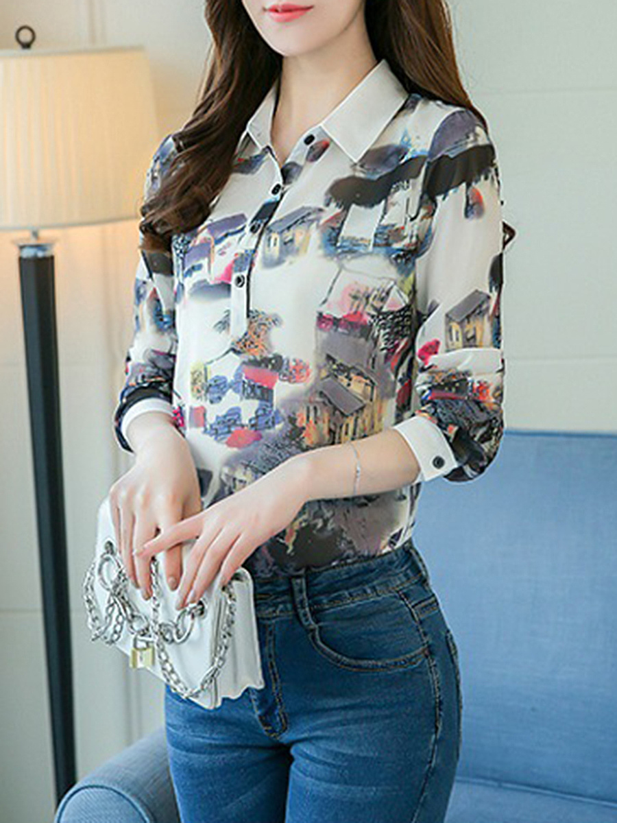 Polo Collar  Printed Long Sleeve T-Shirt
