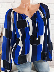 Summer  Polyester  Women  Off Shoulder  Asymmetric Hem  Color Block  Long Sleeve Blouses