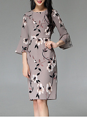 Bell Sleeve Floral Printed Slit Bodycon Dress