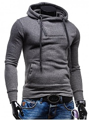 Solid Men Zips Pocket Hoodie