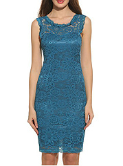 Round Neck Hollow Out Plain Lace Bodycon Dress