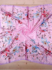 Trumpet Flower Floral Silk Square  Scarf