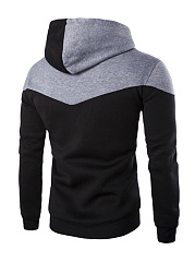 Color Block Drawstring Kangaroo Pocket Men Hoodie