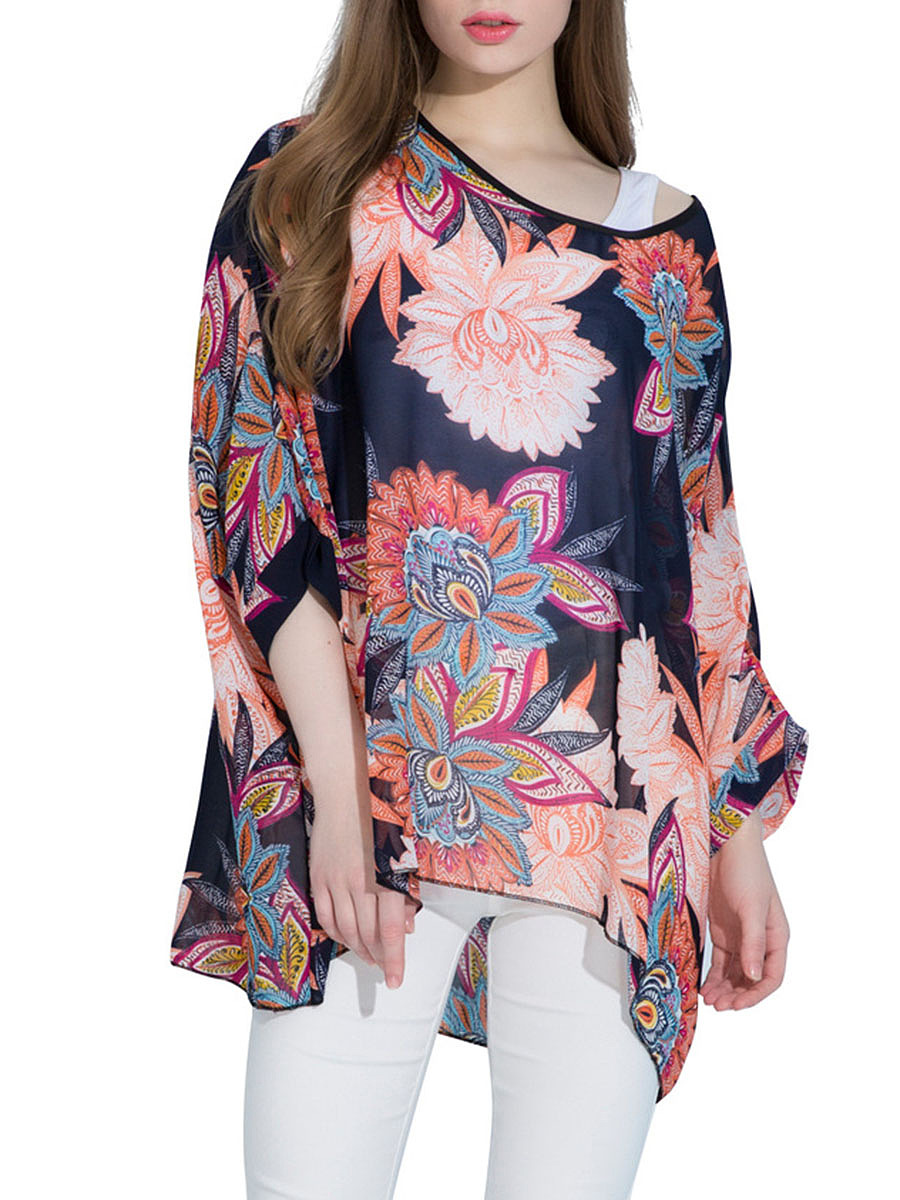 Oversized See-Through Printed Batwing Sleeve Tunic