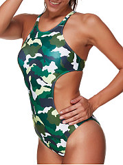 Crew Neck  Backless  Camouflage One Piece