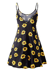 Spaghetti Strap Charming Floral Printed Skater Dress
