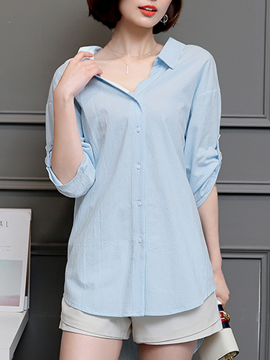 High-Low V-Neck Plain Roll-Up Sleeve T-Shirt