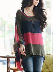 Color-Block-Hollow-Out-Striped-Round-Neck-Batwing-Sleeve-Tunic