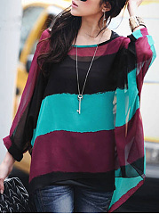 Color Block Hollow Out Striped Round Neck Batwing Sleeve Tunic