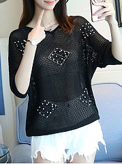 Round Neck  Beading  Hollow Out Plain  Half Sleeve Sweaters Pullover