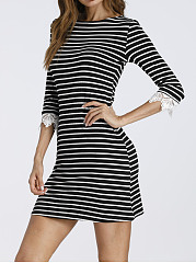 Boat Neck  Decorative Lace  Contrast Piping  Striped  Hot Sell   Bodycon Dresses