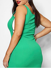 Crew Neck  Patchwork  Color Block Plus Size Bodycon Dresses