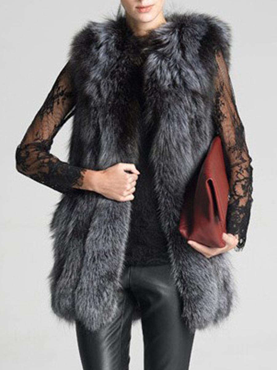 Fluffy Faux Fur Collarless Plain Waistcoat
