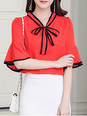 Summer  Polyester  Women  Tie Collar  Contrast Trim  Plain  Half Sleeve Blouses