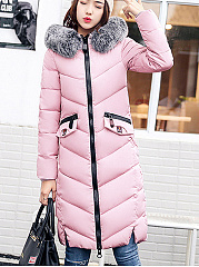 Hooded  Slit Pocket  Quilted  Plain  Long Sleeve Coats