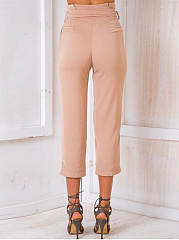 Plain Belt High-Rise Slim-Leg Cropped Pants