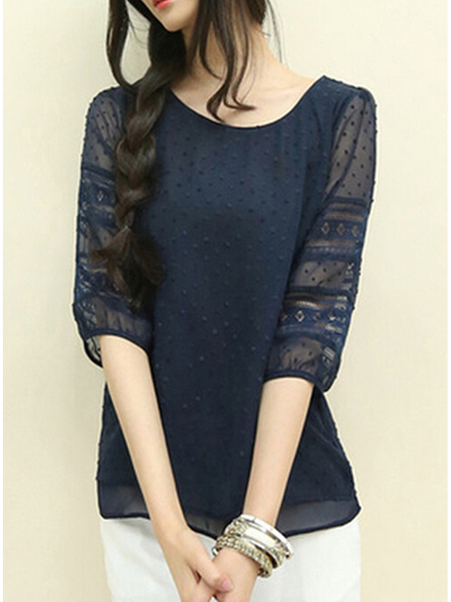 Hollow Out Round Neck Plain Blouse