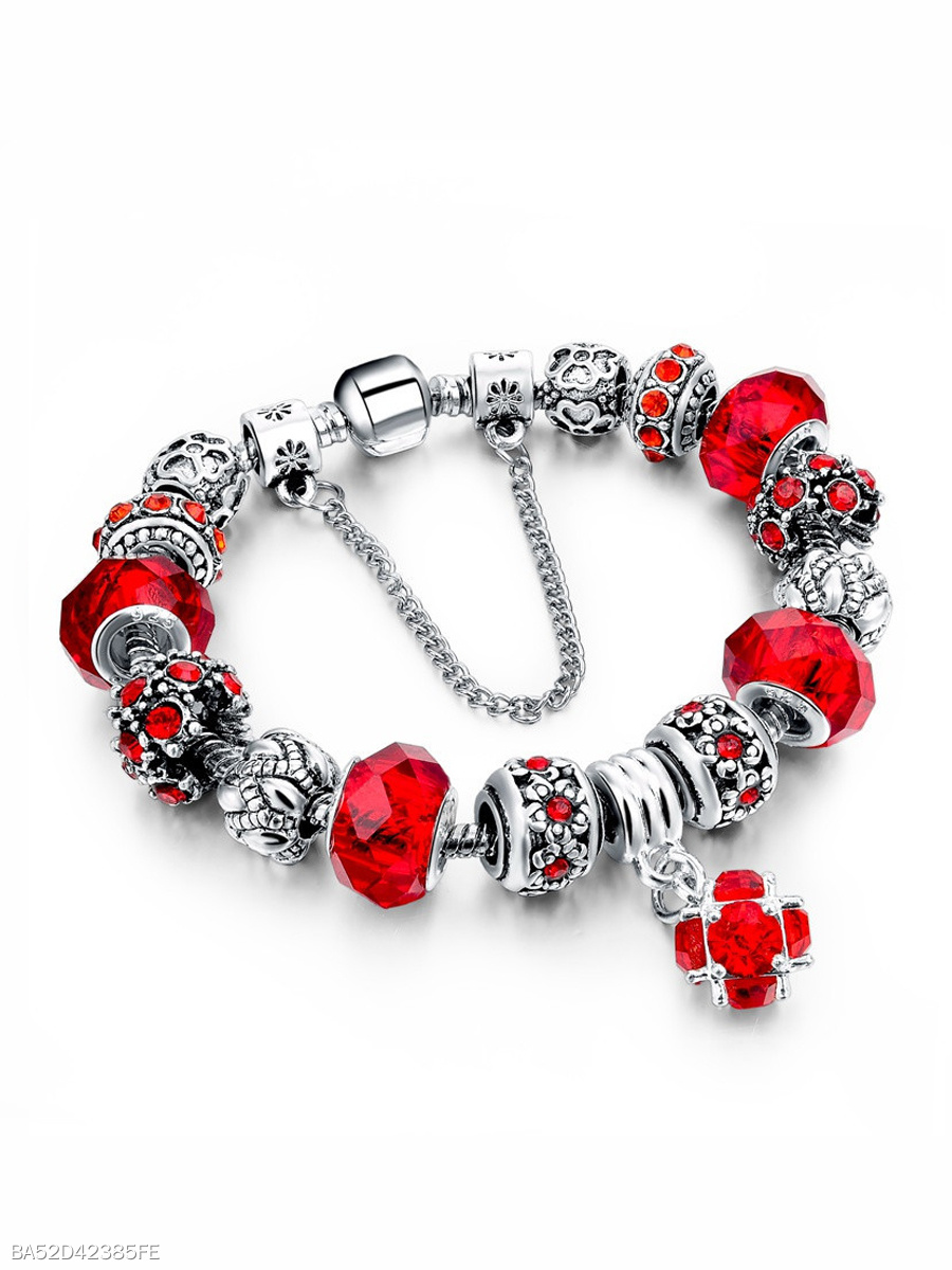 Glass Beads Alloy Imitated Crystal Bracelets