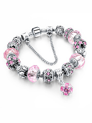 Glass Beads Silver Plated Crystal Bracelet