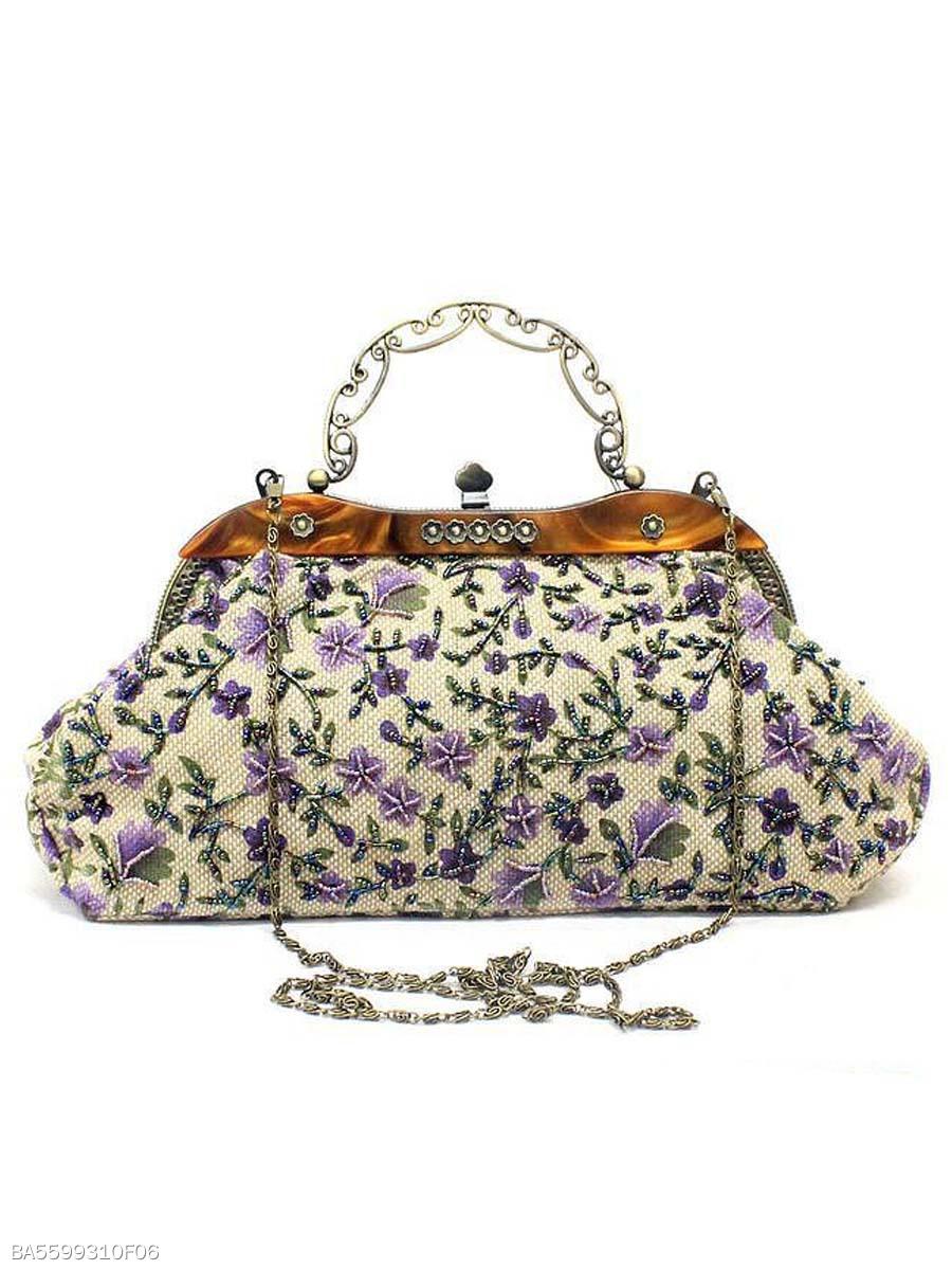 Fl Embroidery Vintage Clutch Bag