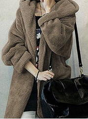Belt  Plain  Long Sleeve Coats