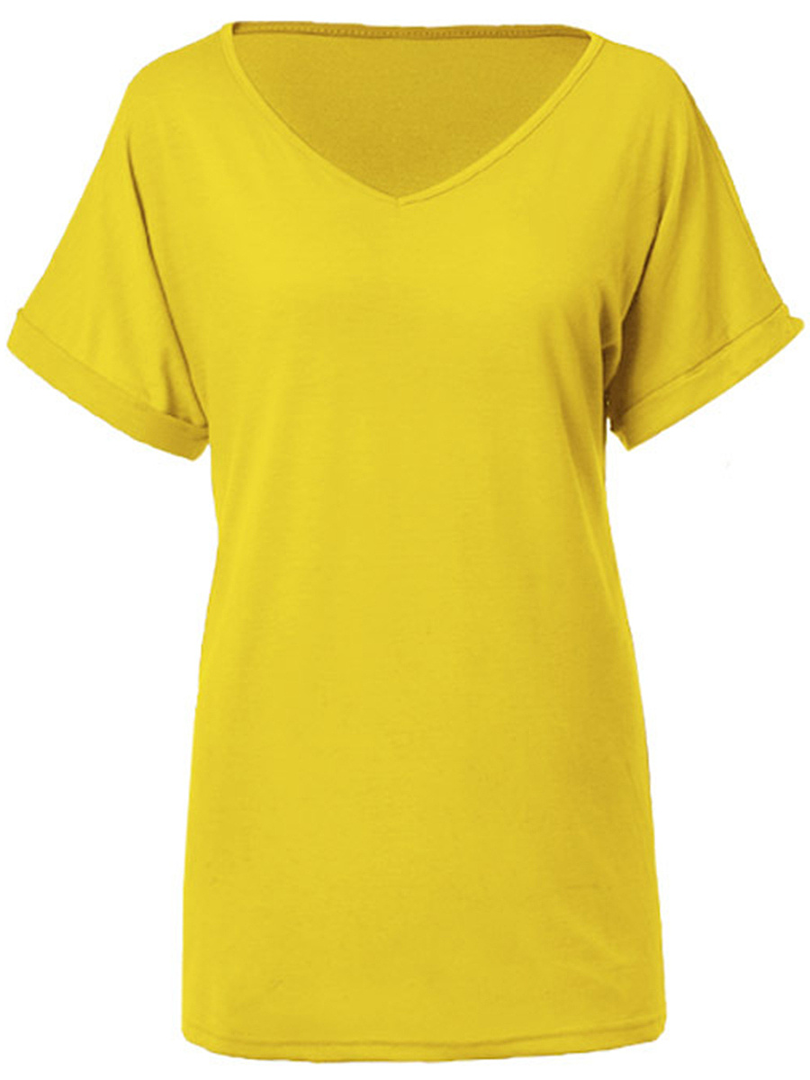 V-Neck Solid Short Sleeve T-Shirt