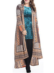 High-Low-Tribal-Printed-Lapel-Plus-Size-Duster-Coat