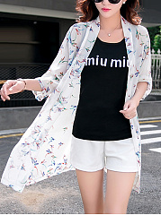 Fancy Collarless See-Through Printed Kimono