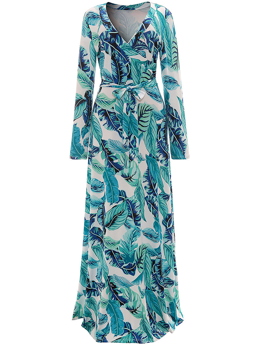 Tropical Palm Printed Deep V-Neck Long Sleeve Maxi Dress