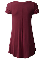 Basic V-Neck  Plain Longline Short Sleeve T-Shirt