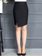 Asymmetric Hem Slit  Plain  Pencil Midi Skirt